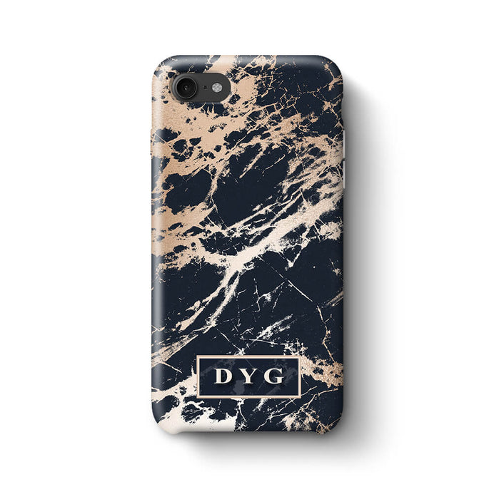 Luxury Gloss Marble With Initials iPhone 8 3D Custom Phone Case black