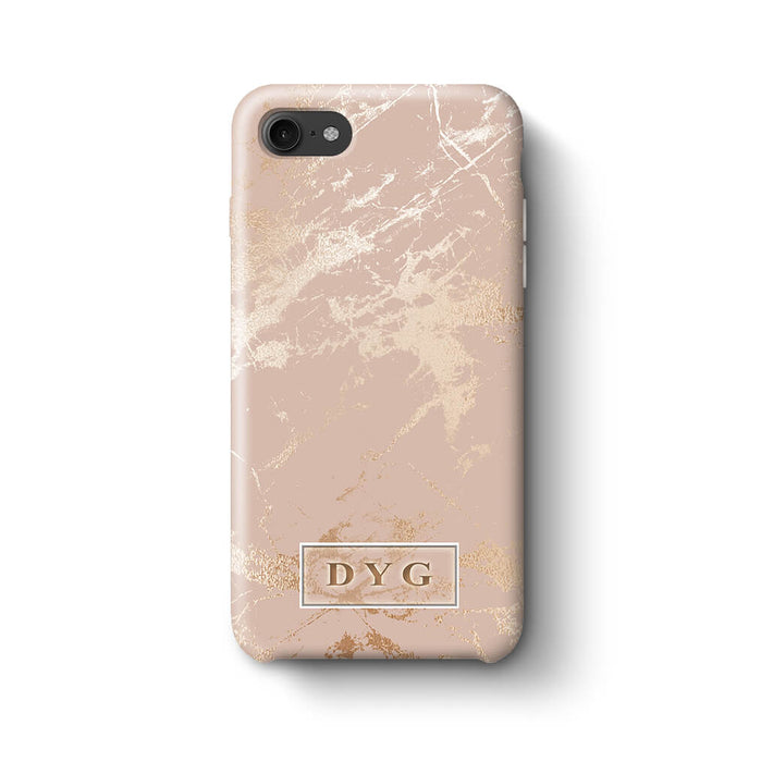 Luxury Gloss Marble With Initials iPhone 8 3D Custom Phone Case champagne