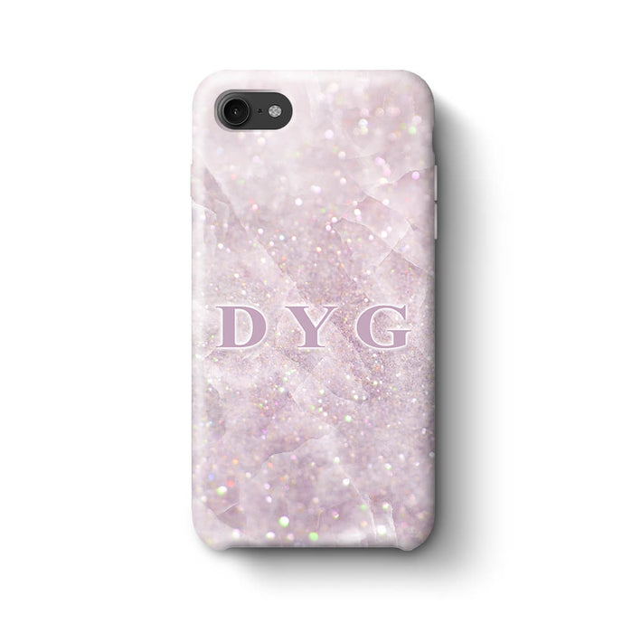 Luxury Glitter Marble With Initials iPhone 8 3D Custom Phone Case pink