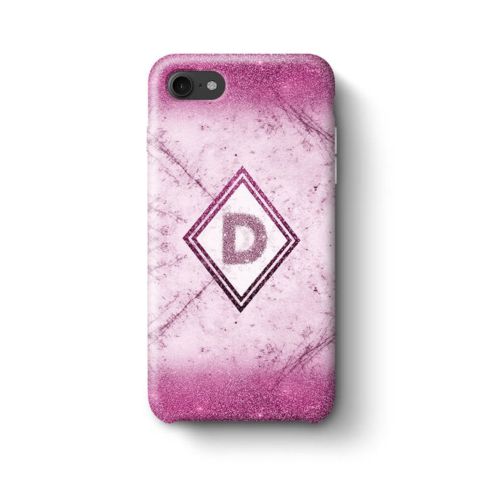 luxury Marble & Glitter With Initial iPhone 8 3D Custom Phone Case pink