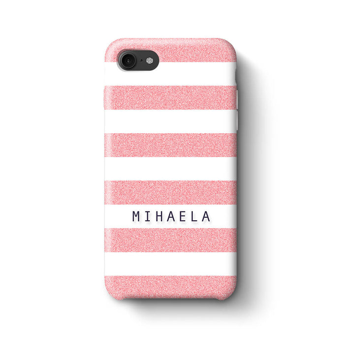 Glitter Stripes With Name Phone 8 3D Custom Phone Case pink