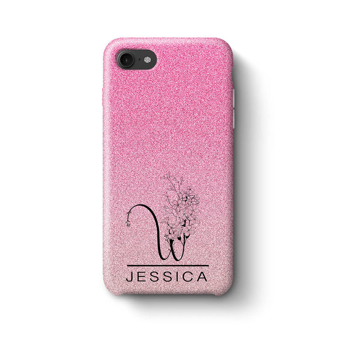 Glitter Ombre With Initial & Name iPhone 8 3D Custom Phone Case pink