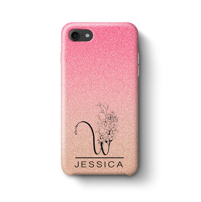Glitter Ombre With Initial & Name iPhone 8 3D Custom Phone Case baby pink