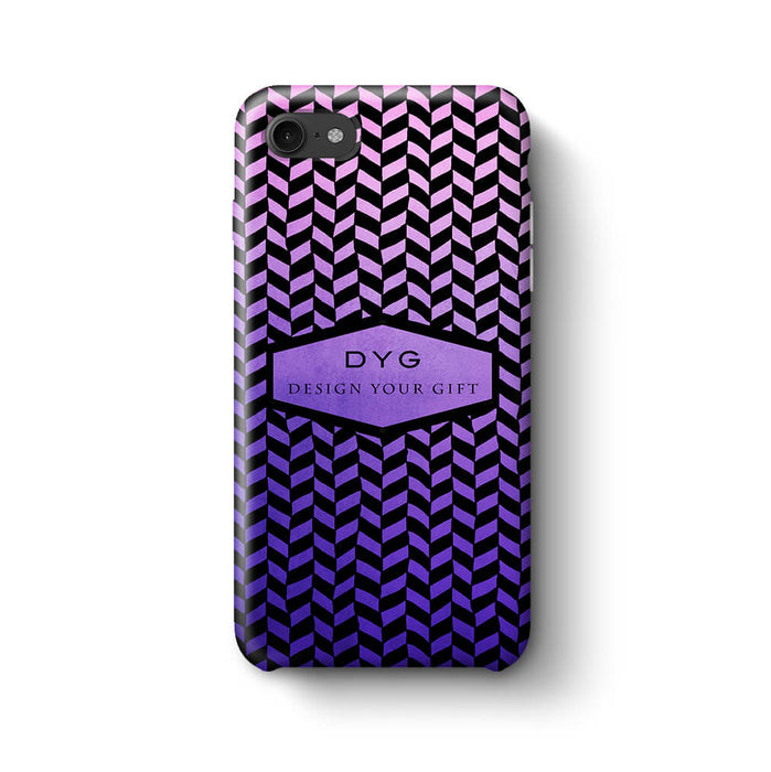 Geometric Hollow Design With Text iPhone 8 3D Custom Phone Case purple