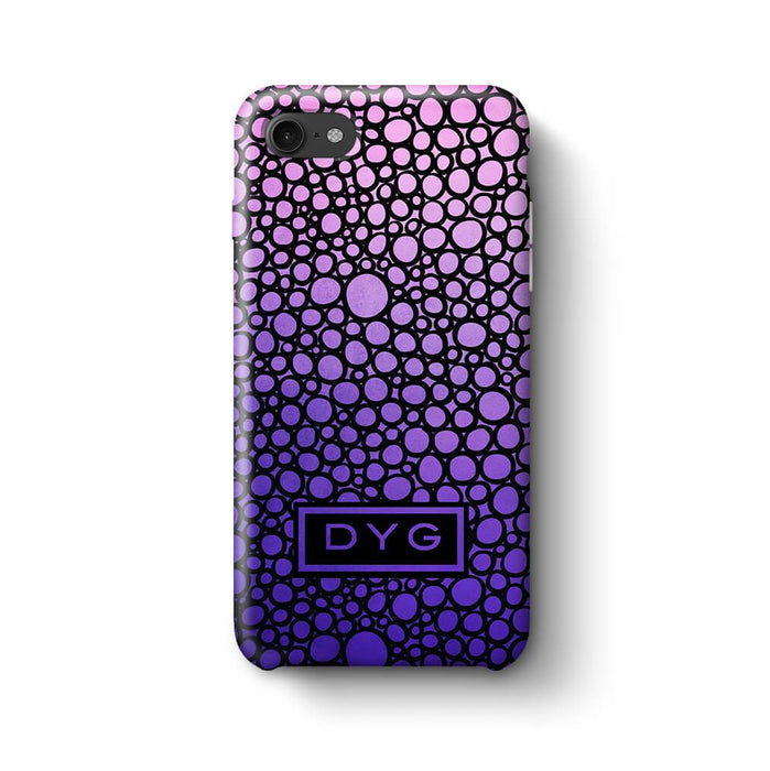 Bubbles Hollow with initials iPhone 8 3D Personalised Phone Case purple