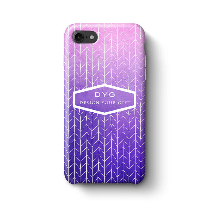 ZigZag Ombre With Text iPhone 8 3D Personalised Phone Case purple