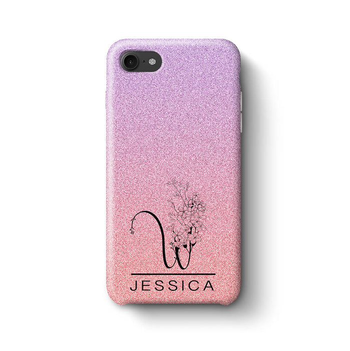 Glitter Ombre With Initial & Name iPhone 8 3D Custom Phone Case purple and pink