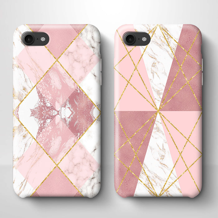 Rose Marble & Geometric Patterns iPhone 8 3D Phone Case variants