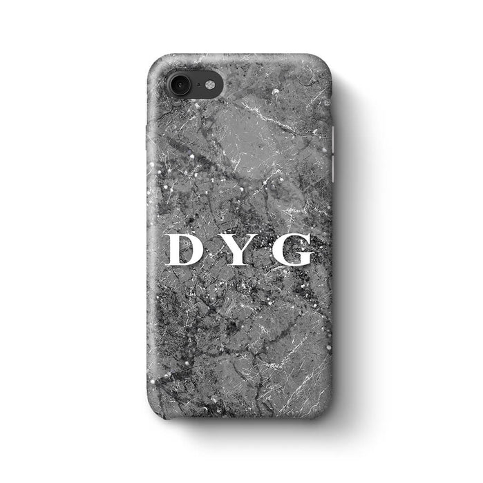 Sparkle Marble With Initials iPhone 8 3D Personalised Phone Case silver mink