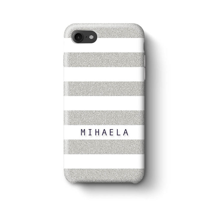 Glitter Stripes With Name Phone 8 3D Custom Phone Case silver