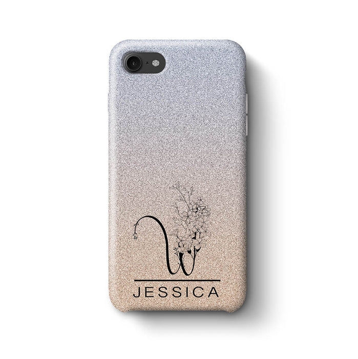 Glitter Ombre With Initial & Name iPhone 8 3D Custom Phone Case silver