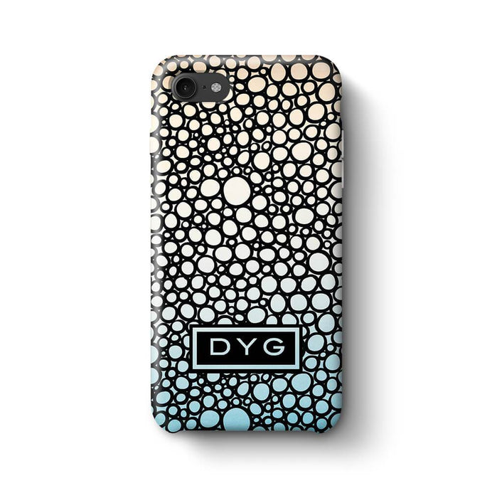 Bubbles Hollow with initials iPhone 8 3D Personalised Phone Case sky