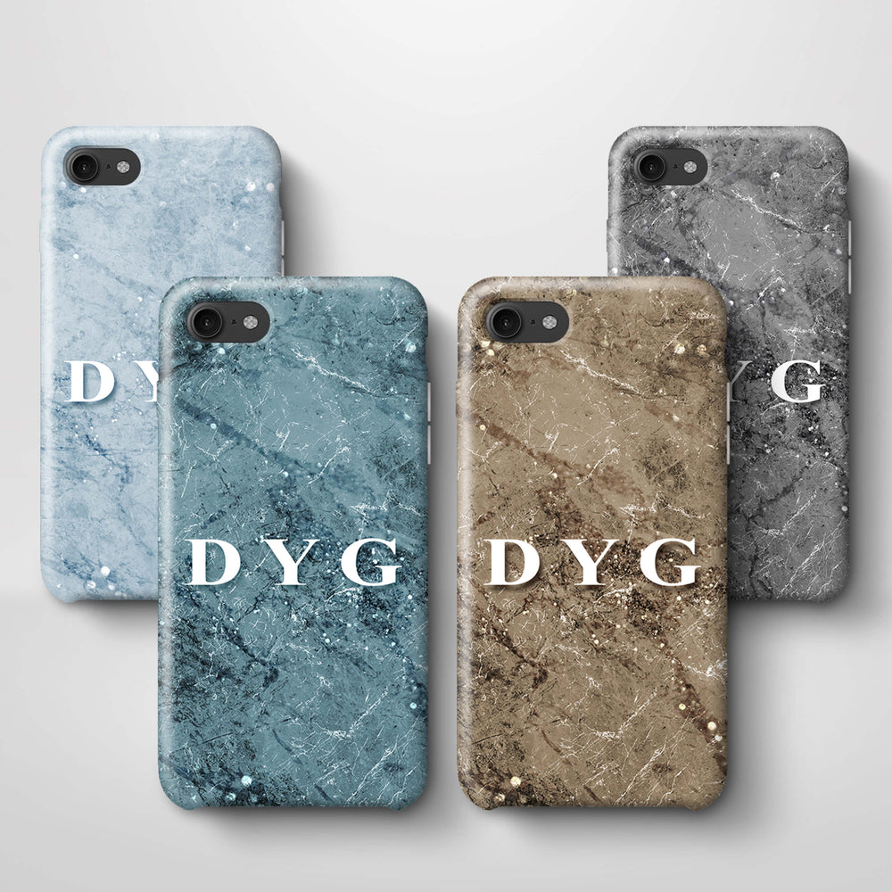 Sparkle Marble With Initials iPhone 8 3D Personalised Phone Case variants