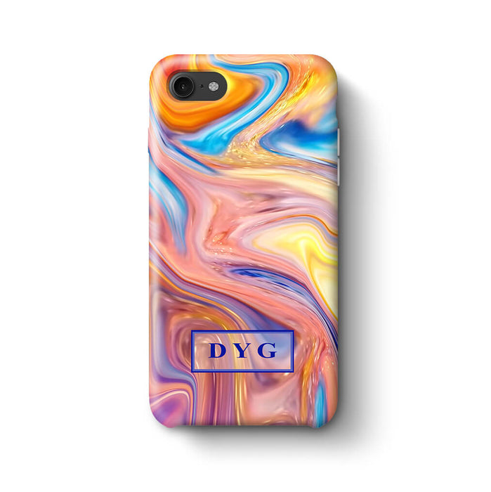 Liquid Marble With Initials iPhone 8 3D Personalised Phone Case summer vibe