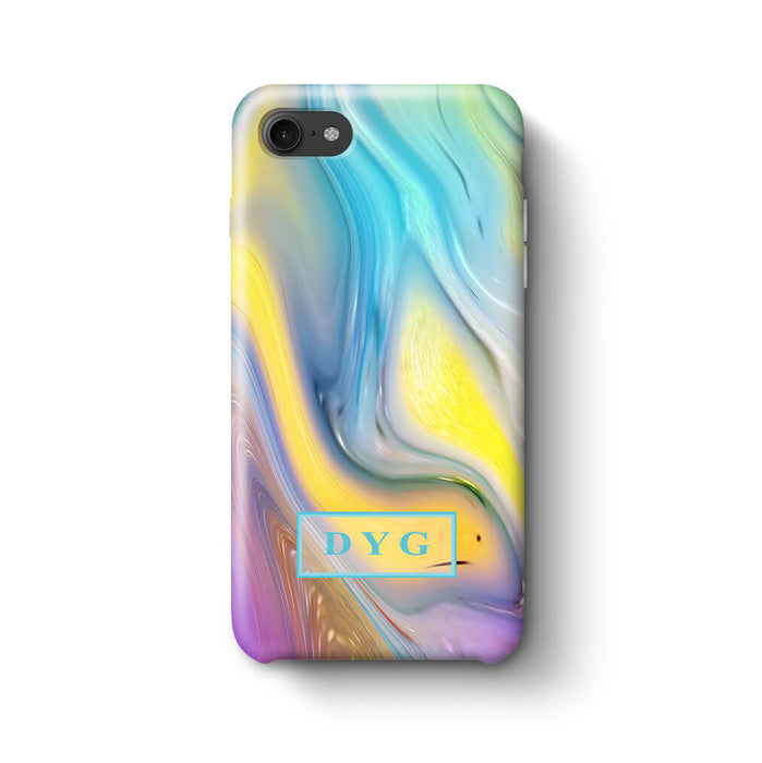 Liquid Marble With Initials iPhone 8 3D Personalised Phone Case sun wave
