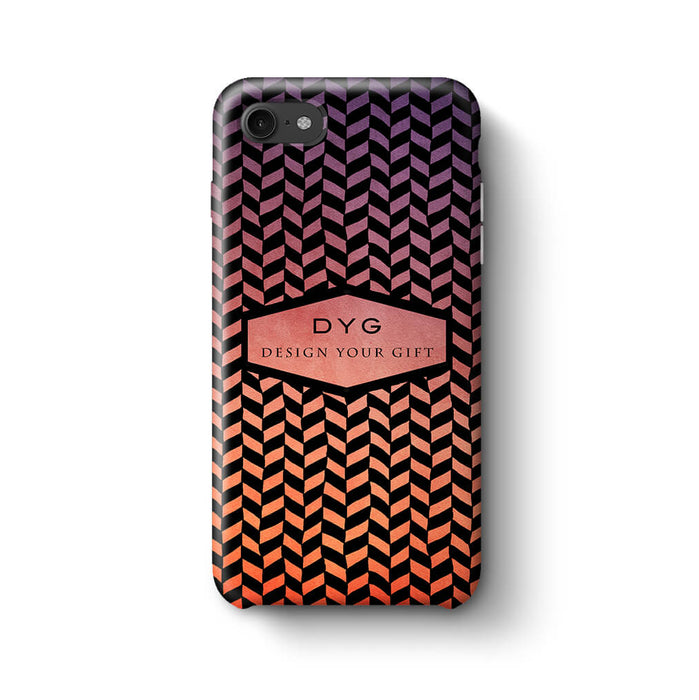 Geometric Hollow Design With Text iPhone 8 3D Custom Phone Case sunset