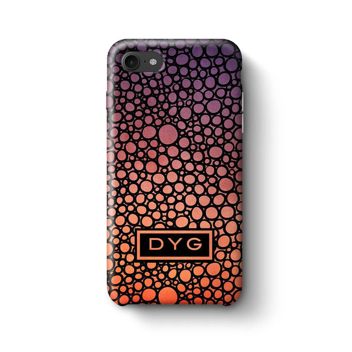 Bubbles Hollow with initials iPhone 8 3D Personalised Phone Case sunset