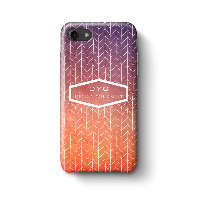 ZigZag Ombre With Text iPhone 8 3D Personalised Phone Case sunset