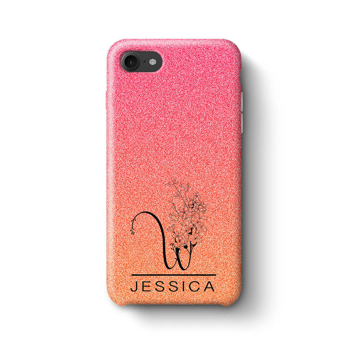 Glitter Ombre With Initial & Name iPhone 8 3D Custom Phone Case sunset