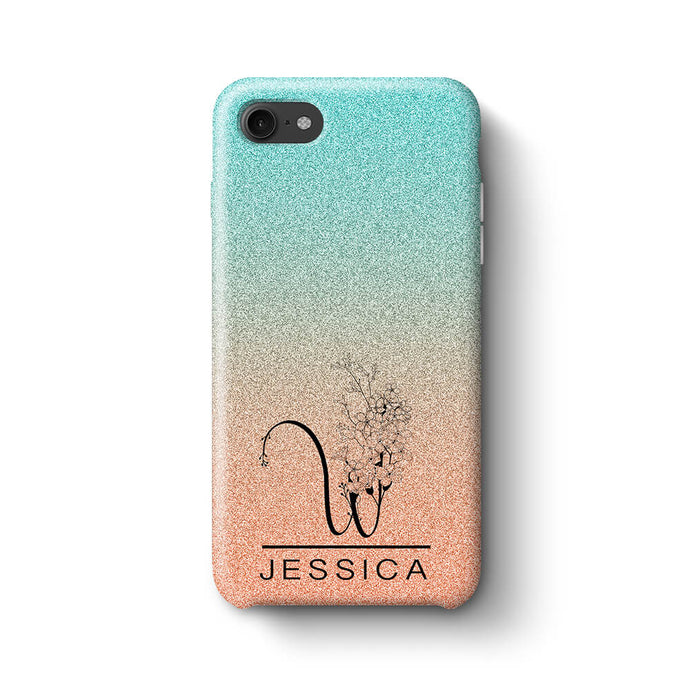 Glitter Ombre With Initial & Name iPhone 8 3D Custom Phone Case turquoise and peach