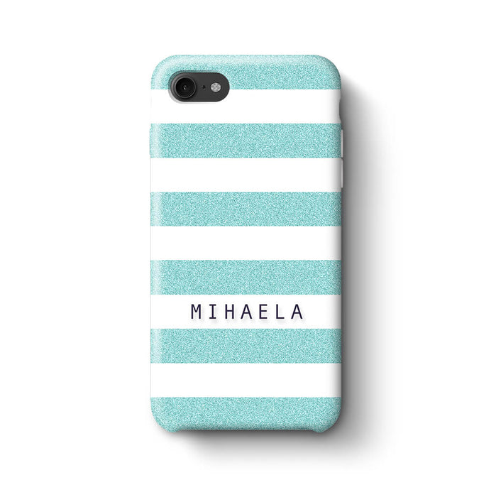 Glitter Stripes With Name Phone 8 3D Custom Phone Case turquoise