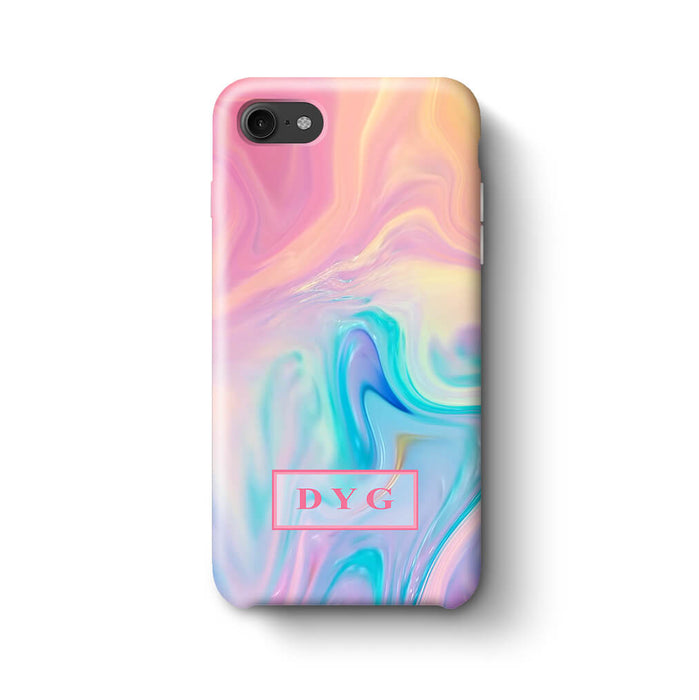 Liquid Marble With Initials iPhone 8 3D Personalised Phone Case unicorn