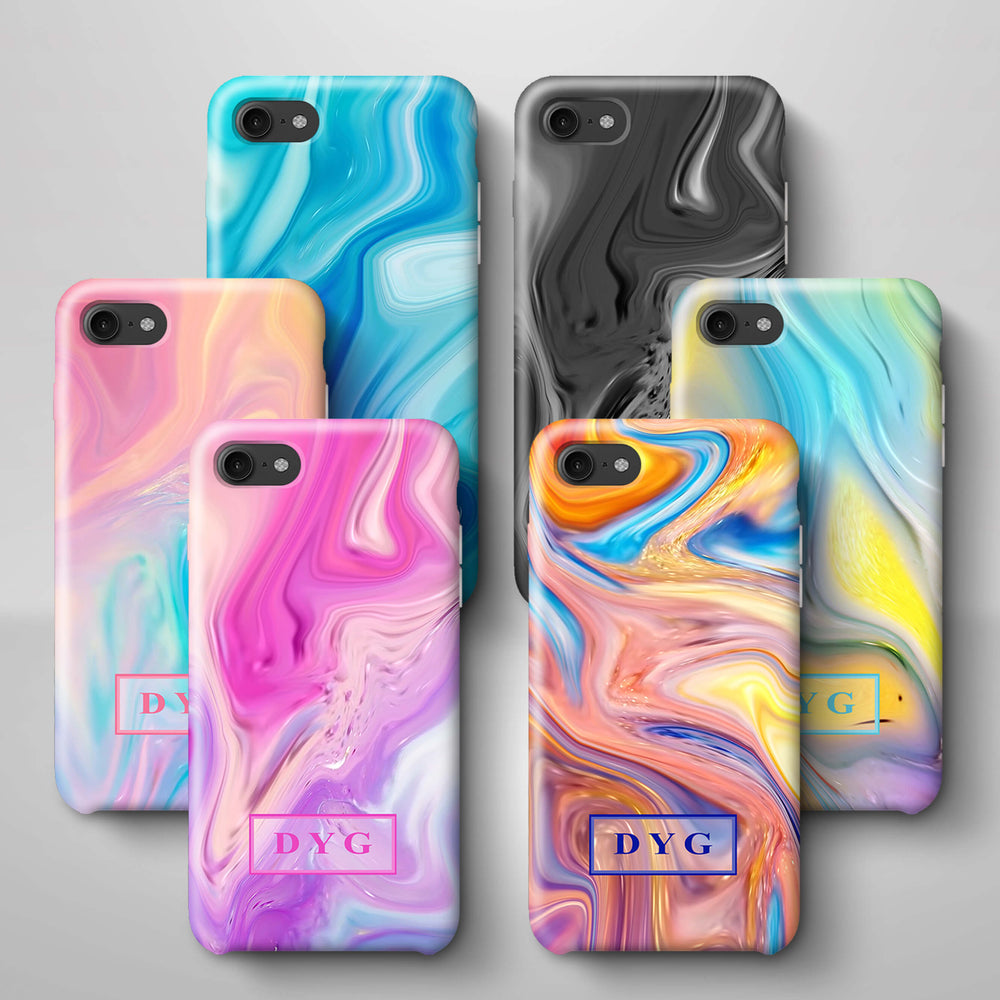 Liquid Marble With Initials iPhone 8 3D Personalised Phone Case Variants