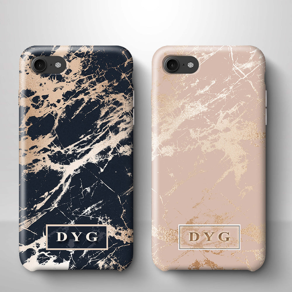 Luxury Gloss Marble With Initials iPhone 8 3D Custom Phone Case variants