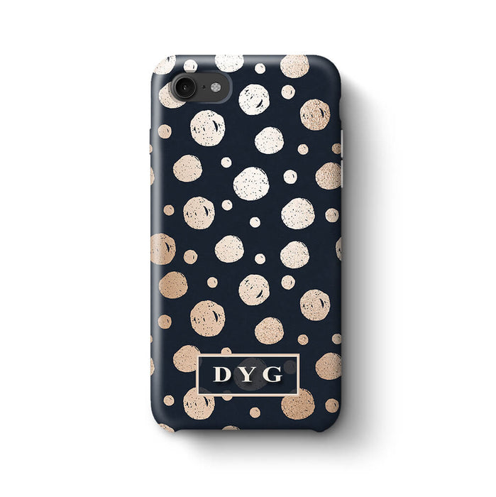 Glossy Dots With Initials iPhone 8 3D Custom Phone Case black