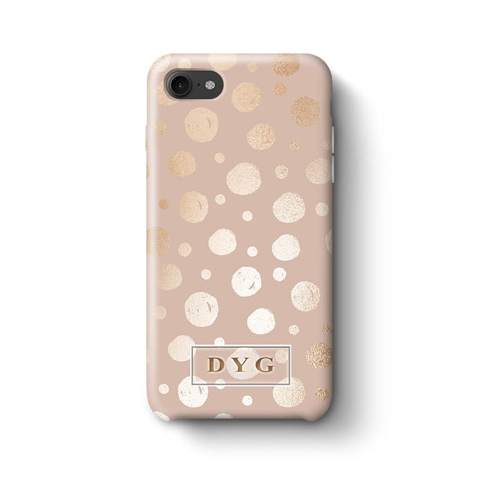 Glossy Dots With Initials iPhone 8 3D Custom Phone Case champagne
