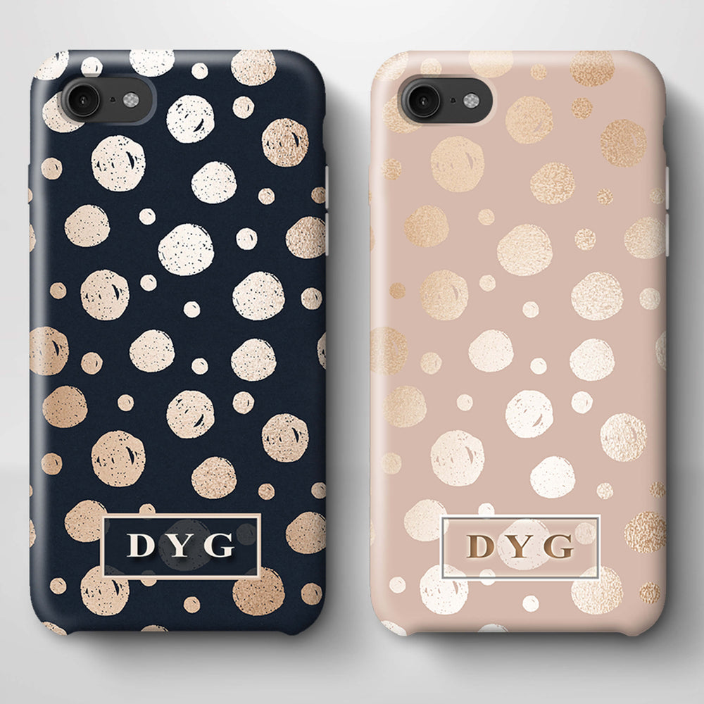 Glossy Dots With Initials iPhone 8 3D Custom Phone Case variants