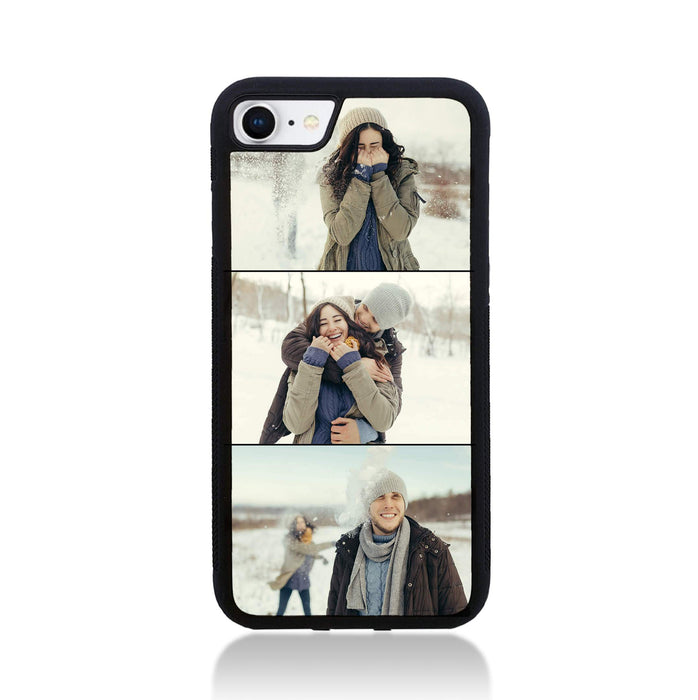 iPhone 8 Black Rubber Phone Case | 3 Photos Phone Case
