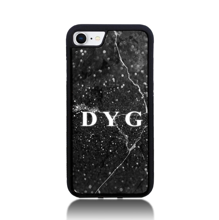 iPhone 8 Black Rubber Phone Case | Dark Marble Initials Case - black marble effect
