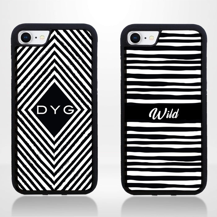 Black & White Pattern with Initial - iPhone 8 Black Rubber Phone Case