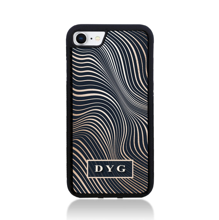 iPhone 8 Black Rubber Phone Case | Glossy Wave with Initials - black background with glossy rose waves