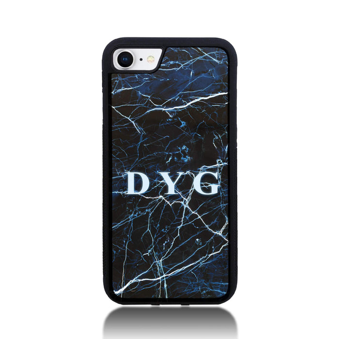 iPhone 8 Black Rubber Phone Case | Dark Marble Initials Case - dark sea marble effect