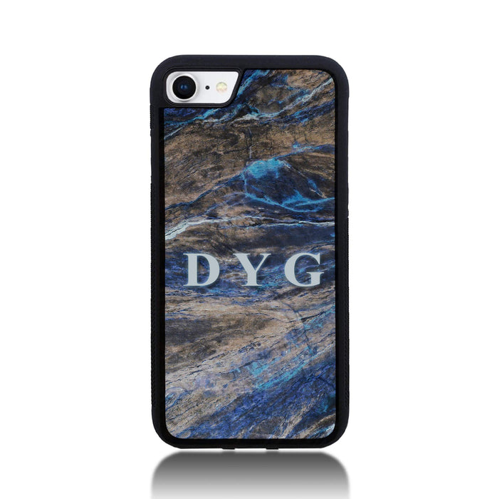 iPhone 8 Black Rubber Phone Case | Dark Marble Initials Case - earthy blue marble effect