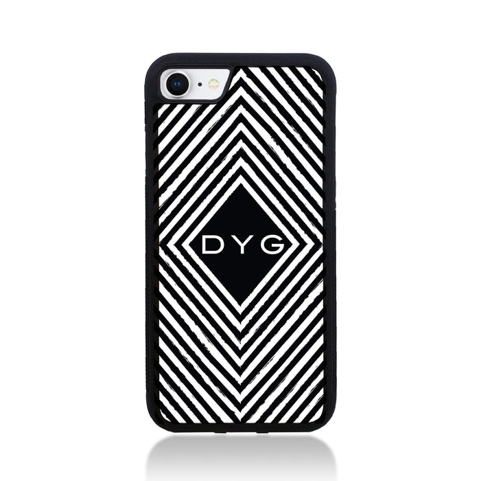 Black & White Pattern with Initial - iPhone 8 Black Rubber Phone Case - Geometric pattern