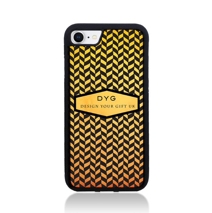 Geometric Hollow Design with Text - iPhone 8 Black Rubber Case design-your-gift.