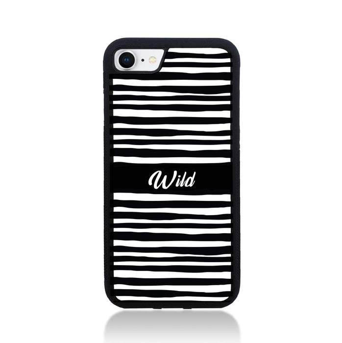 Black & White Pattern with Initial - iPhone 8 Black Rubber Phone Case - Wild zebra pattern