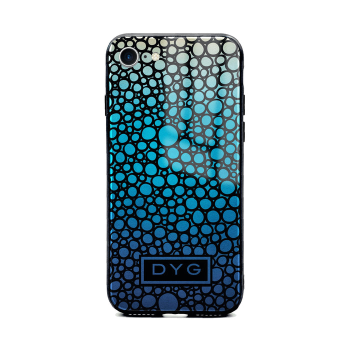 Custom initials iPhone 8 Glass phone case printed with bubble hallow blue lagoon ombre colour theme