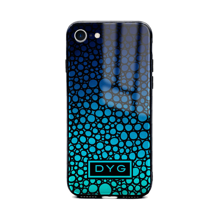 Custom initials iPhone 8 Glass phone case printed with bubble hallow blue sea ombre colour theme