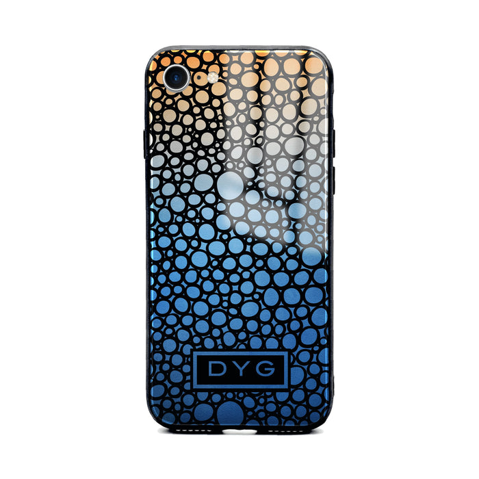 Custom initials iPhone 8 Glass phone case printed with bubble hallow blue sky ombre colour theme