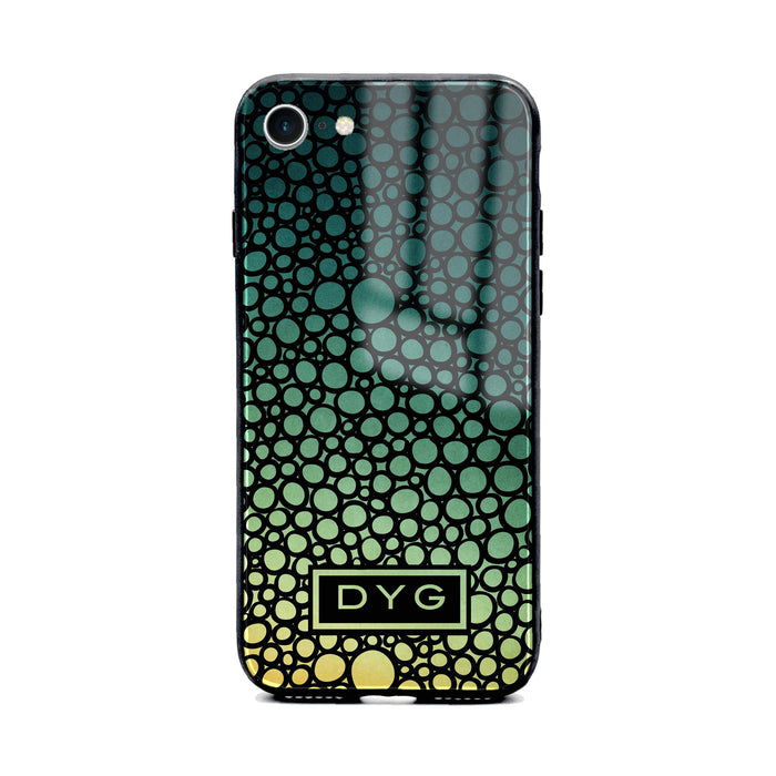 Custom initials iPhone 8 Glass phone case printed with bubble hallow green lake ombre colour theme