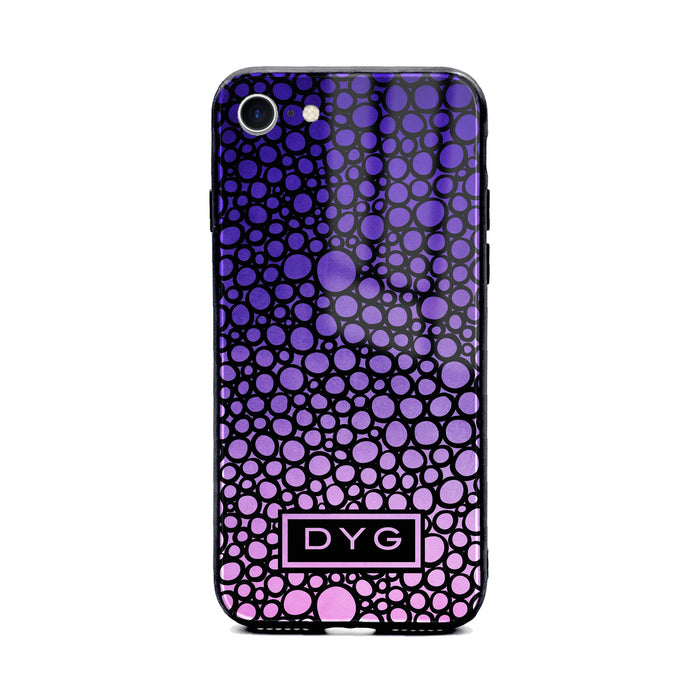 Custom initials iPhone 8 Glass phone case printed with bubble hallow purple ombre