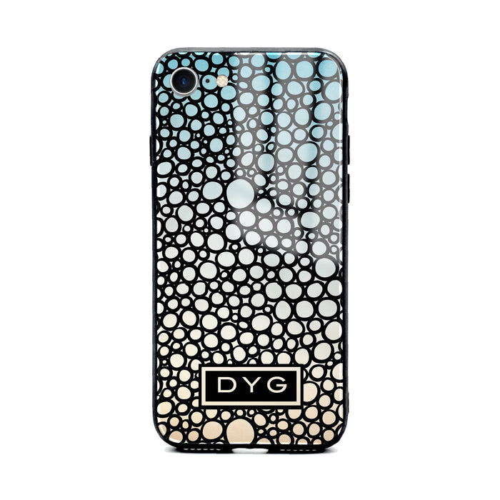 Custom initials iPhone 8 Glass phone case printed with bubble hallow sky ombre colour theme