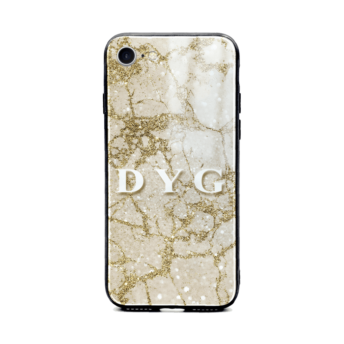 iphone 8 glass phone case personalised with initials on sparkling cinnamon pearl marble