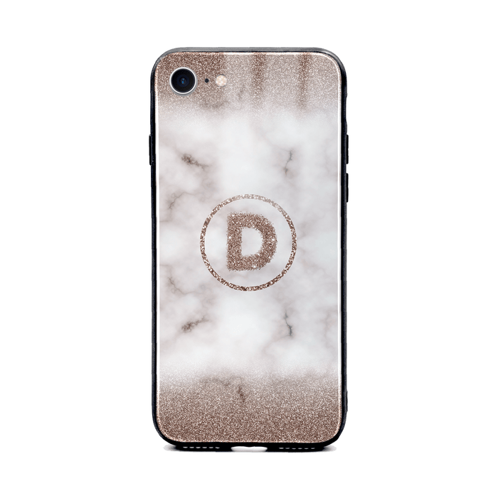Custom initial iPhone 8 Glass phone case with sand glitter and marble effect and round shape