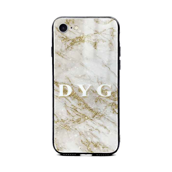 iphone 8 glass phone case personalised with initials on sparkling gold pearl marble