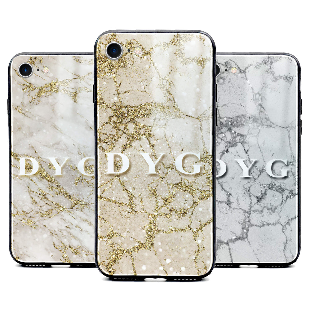 iphone 8 glass phone case personalised with initials on sparkling pearl marble available in 3 colours